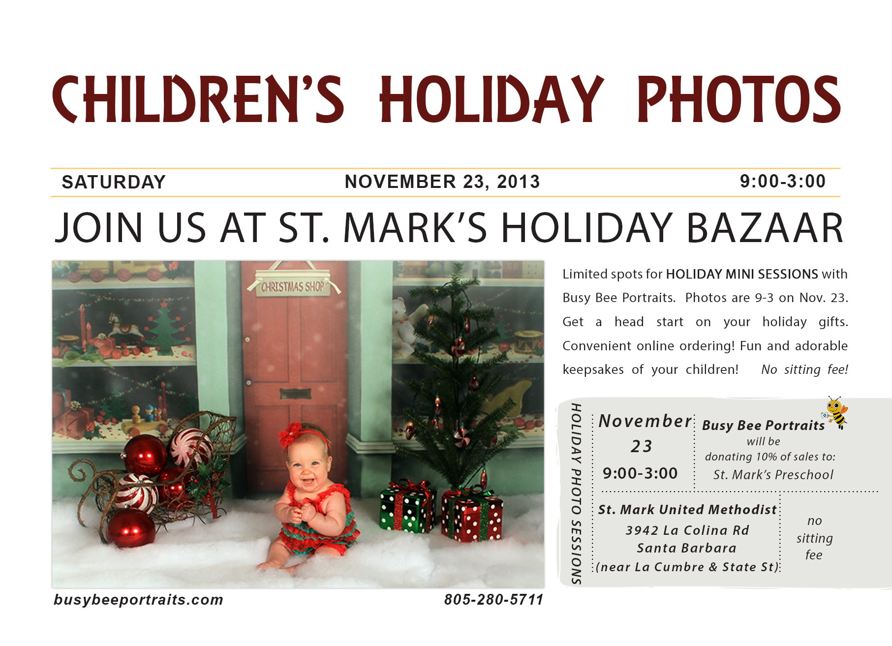 Busy Bee Childrens Holiday Photo, Holiday Mini Sessions, Santa Barbara Children's Photographer, Family Photographer in Santa Barbara