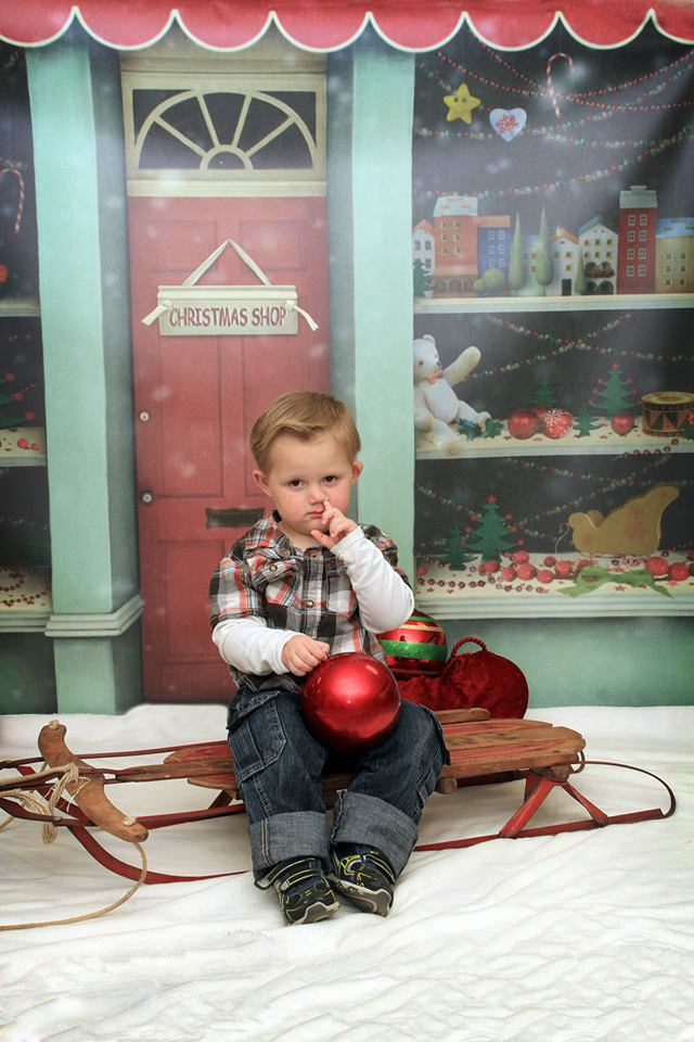 christmas kids nose picking photo