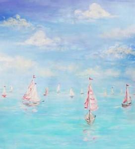 Retro Beach & Sailboats