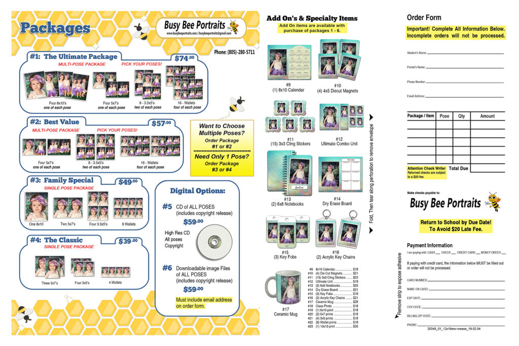 Busy Bee Order Form, Packages and Pricing